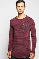 Boohoo Space Knit Jumper with Double Zip/Scoup Hem