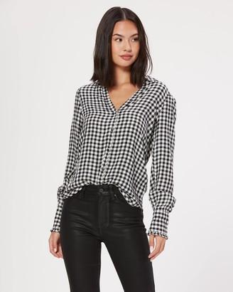 Paige Enid Shirt With Ruffle Cuff-Black/White- Mini Gingham