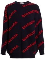 Balenciaga Intarsia Knit Logo Sweater