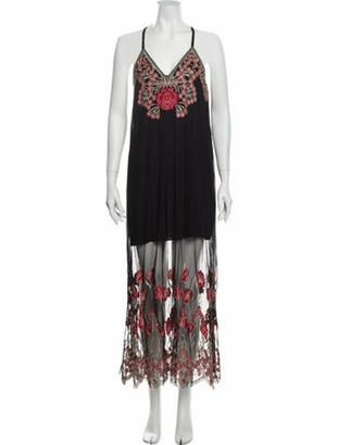 Alice + Olivia Printed Long Dress w/ Tags Black