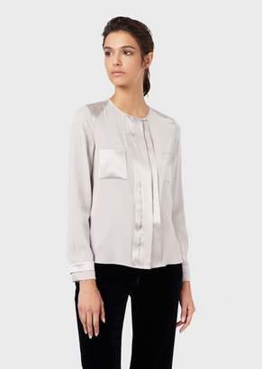 Giorgio Armani Silk Charmeuse Shirt With Glossy Satin Details