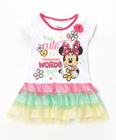 Children's Apparel Network White Minnie Mouse 'Too Cute for Words' Ruffle Dress - Girls