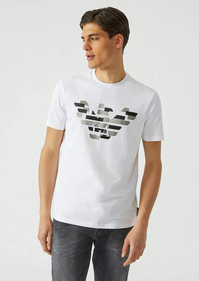 Emporio Armani Jersey T-Shirt With Deconstructed Metallised Logo