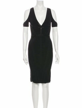 Herve Leger V-Neck Knee-Length Dress Black