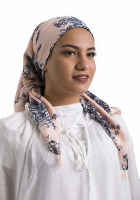 Dare 2b Viscose Geometric Floral Square Muslim Hijab for Women Shawl and Scarf Islamic Head Wrap Head Scarf for All Seasons - Pink - Medium