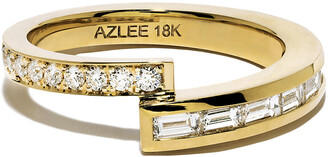 Azlee Pave and Baguette Diamond Band Yellow Gold Ring