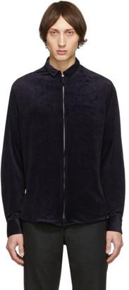 Giorgio Armani Navy Velvet Zip Shirt