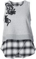 Derek Lam 10 Crosby floral lace layered tank
