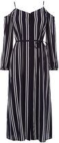 Warehouse Stripe Cold Shoulder Dress