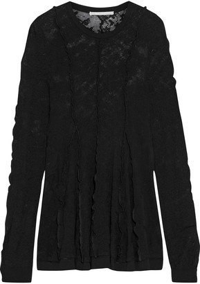 Stella McCartney Fluted Ruffle-trimmed Cotton-blend Lace Top