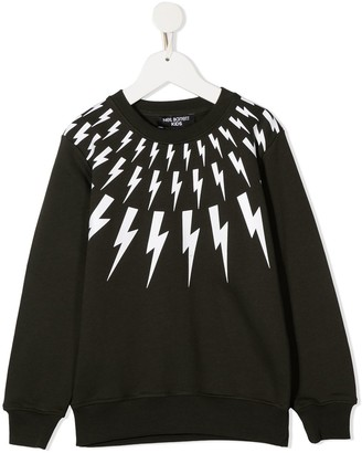 Neil Barrett Kids Lightening Print Cotton Sweatshirt