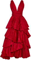 Oscar de la Renta Tiered Pleated Silk Gown
