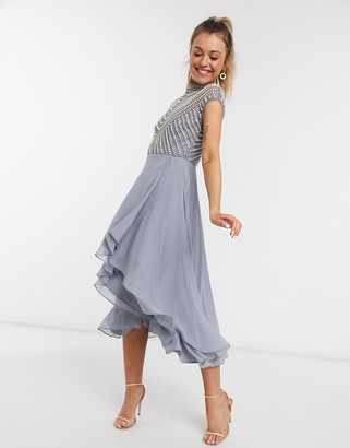 ASOS DESIGN midi linear embellished bodice dress with high neck and wrap skirt