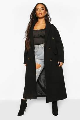 boohoo Petite Wool Look Double Breasted Long Line Coat
