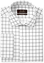 Tasso Elba Men's Classic/Regular Fit Black White Windowpane French Cuff Dress Shirt, Only at Macy's