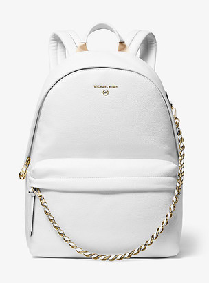 MICHAEL Michael Kors MK Slater Large Pebbled Leather Backpack - Optic White - Michael Kors