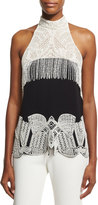 Jonathan Simkhai Collection Two-Tone Beaded Halter Top, Black/White