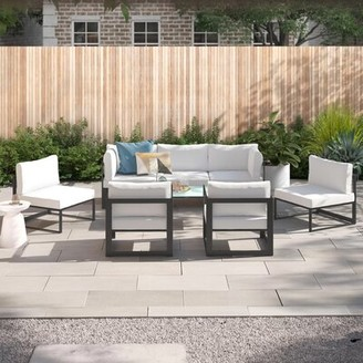 Annemarie Outdoor Patio 6 Piece Sectional Seating Group with Cushions Foundstone Frame Finish: Brown, Cushion Color (Fabric): White