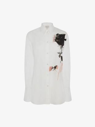 Alexander McQueen Rose Print Poplin Shirt