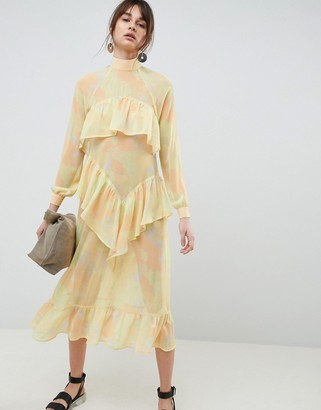 Asos Printed Chiffon Maxi Dress-Yellow