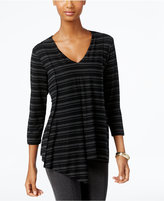 Cable & Gauge Striped Asymmetrical-Hem Top