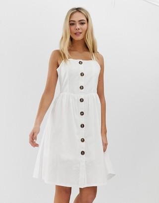 Qed London QED London cross back button through midi dress-White