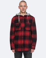 DC Mens Runnels Long Sleeve Hooded Flannel Shirt