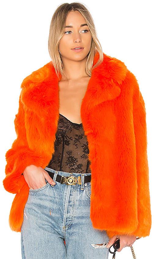 Diane von Furstenberg Collared Faux Fur Jacket