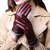 ieasysexy Women's Retro Winter Gloves,Warm Leather Wool Driving Gloves(Fuchsia)