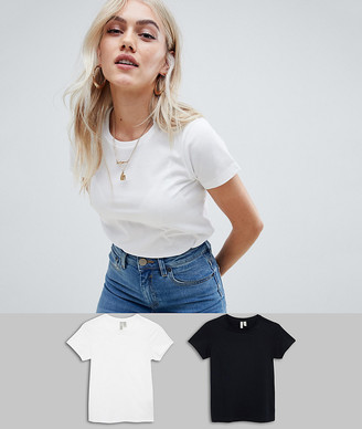 Asos DESIGN Petite ultimate t-shirt with crew neck in 2 pack SAVE-Multi