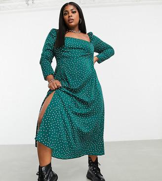 ASOS DESIGN Curve square-neck midi skater dress in polka dot