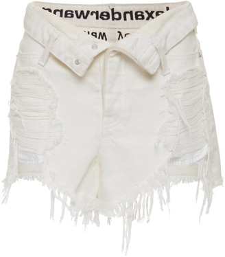 Alexander Wang Runway Bite Distressed Denim Shorts