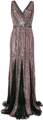 Marchesa Sequin Striped Sleeveless Gown