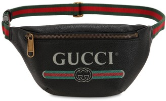 Gucci Small Print Leather Belt Bag