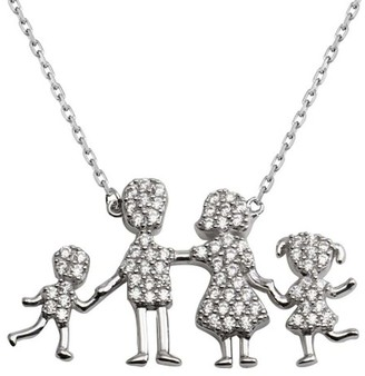 Cosanuova Sterling Silver Family Pendant One Girl-One Boy Necklace