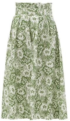 Shrimps Finlay Paperbag-waist Floral Silk-twill Skirt - Green