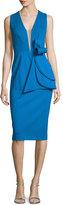 Jovani Sleeveless Deep-V Bow-Waist Cocktail Dress