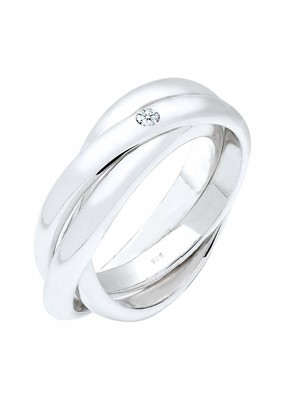 Elli Premium Elli Women's 925 Sterling Silver Xilion Cut 0.03 ct Diamond Ring Size O