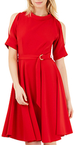 Closet Split Sleeve Belted Skater Dress, Red