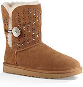 UGG Bailey Button II Tehuano Perforated Suede Woven Leather Pull-On Booties