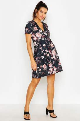 boohoo Maternity Floral Wrap Dress