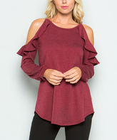 Sweet Pea Wine Ruffle-Accent Cutout French Terry Tunic