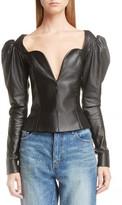 Saint Laurent Women's Lambskin Leather Balloon Sleeve Top