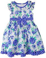 Nannette Toddler Girl Floral Swiss-Dot Dress