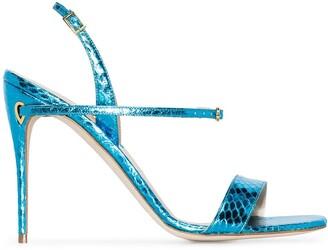 Jennifer Chamandi Tommaso 105mm snake-print leather sandals