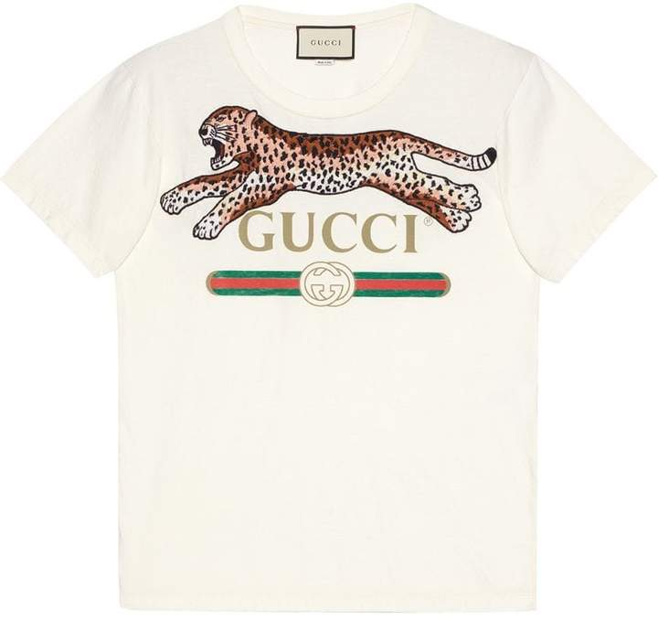 Gucci logo T-shirt with leopard