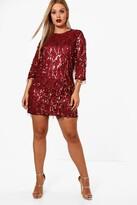 boohoo Plus Tassel Sequin Shift Dress