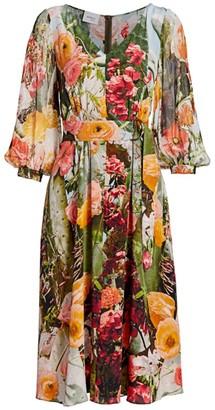 Akris Punto Cactus Blossom Silk Crepe Midi Dress