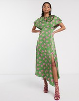 Liquorish flutter sleeve maxi dress with keyhole detail in floral print