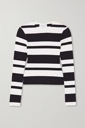 CALÉ Veronique Striped Ribbed-knit Top - Black